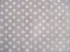 Small daisy gingham blue print poly cotton fabric sold per metre daisy size 8mm
